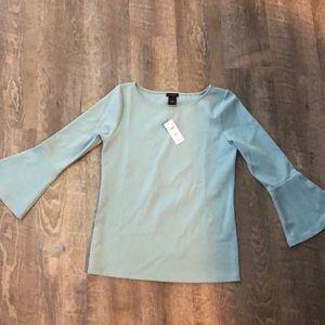 Ann Taylor Bell Sleeve light blue Top NWT XS